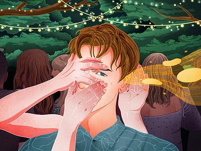 To pay attention, the brain uses filters, not a spotlight biology brain neuroscience science editorial illustration procreate illustrator illustration