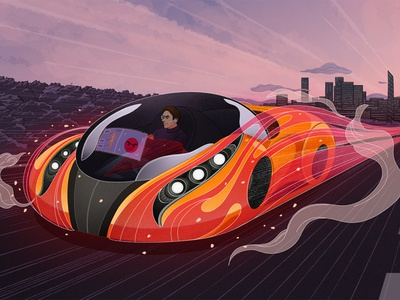 Gear up for the Car of the Future procreate art design editorial illustration digital car technology procreate illustrator illustration