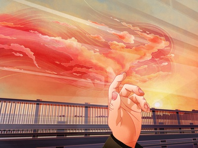 Phoenix mood phoenix clouds atmospheric landscape illustration fantasy art editorial illustration procreate art digital design procreate illustrator illustration