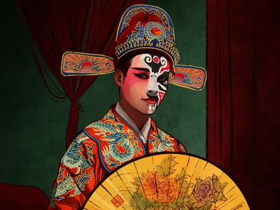 国色天香 editorial chinese portrait art character design editorial illustration procreate art digital design procreate illustrator illustration