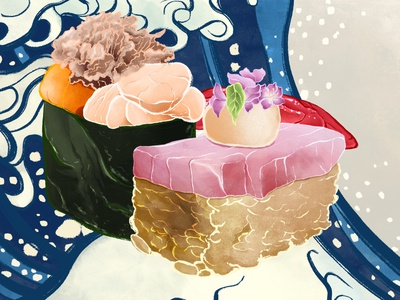 Flavours of the Sea foodillustration food illustration sushi procreate art digital design procreate illustrator illustration