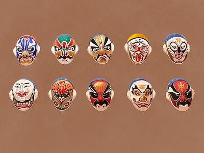Chinese Opera Masks chinese illustrator chinese culture procreate art digital design procreate illustrator illustration