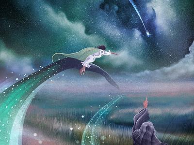 Howl's Moving Castle: Shooting Star procreate art procreate illustrator illustration fantasy art fantasy shooting star scenary character art howls moving castle book illustration narrative digital design