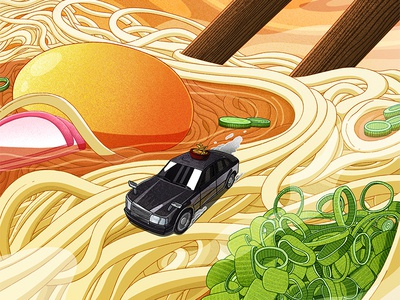Why Udon, Japan's Most Important Noodle, Is Worth Traveling For culture udon japanese food food travel editorial illustration editorial procreate art procreate illustrator illustration digital design