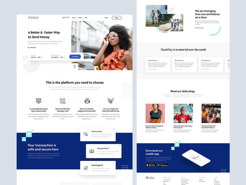 Homepage Design for a Money Transfer Website remote payment money app money transfer remittance money landing creative designer clean web minimal interface ux design ui