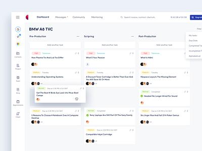Dashboard - Content and Crew Management Platform ui design capable web app dashboard app crm dashboard ui dashboad hire creative designer clean web minimal interface ux design ui