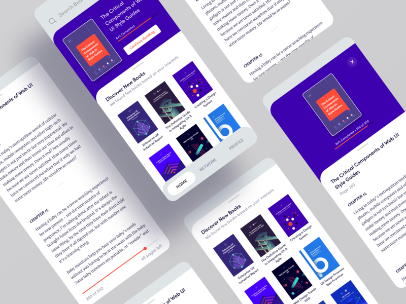 Book Reader App UI Design hire creative designer clean interface minimal reader ux design ui design mobile app mobile ui app design app mobile book