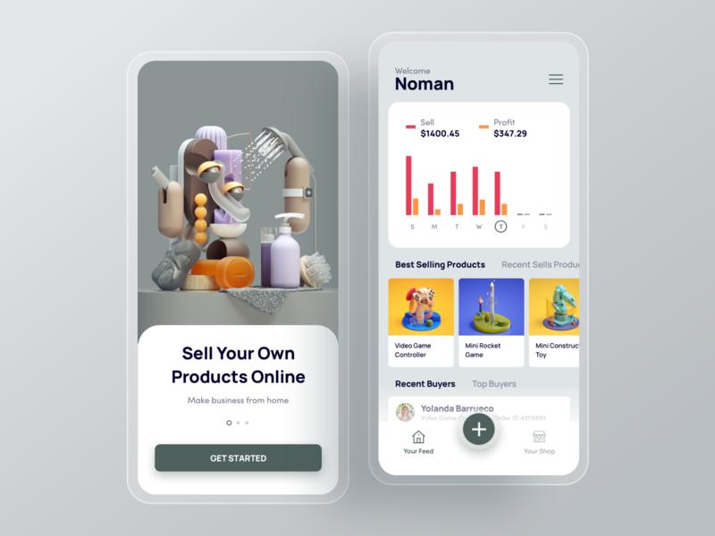 Multi Vendor eCommerce Mobile Application UI Design shop hire walktrough statistics ecommerce minimal app clean interface design ux ui