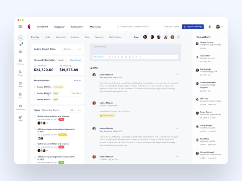 Dashboard - Content and Crew Management Platform dashboard design crm dashboard ui dashboad hire creative clean web minimal ux design ui