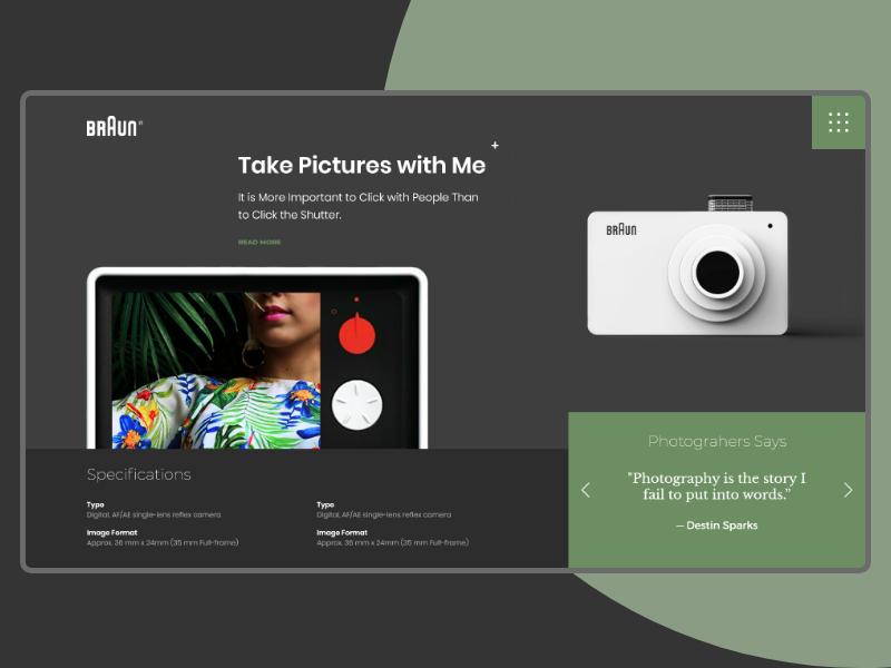 Header exploration with BRAUN landing page product camera xd hire header designer design interface ux ui flat