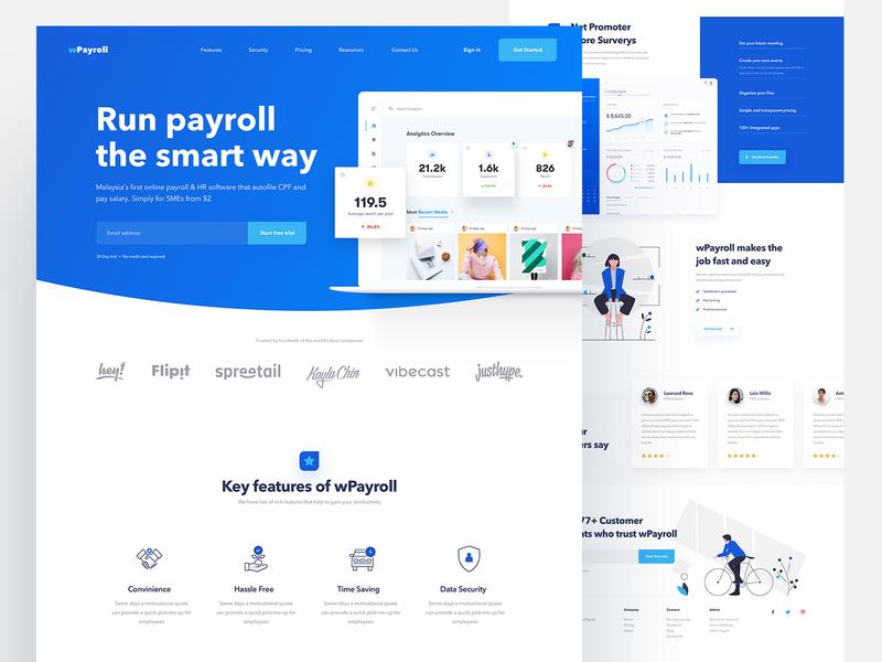 Landing Page Design for Payroll Service app landing page web designer illustration landing interface ux design ui