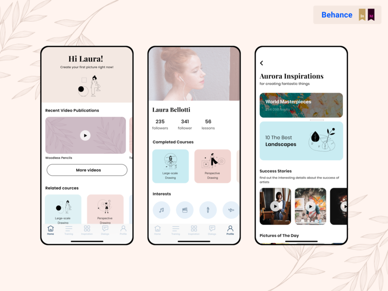 Aurora App for Artists interface painting colorful design application app design uiux app