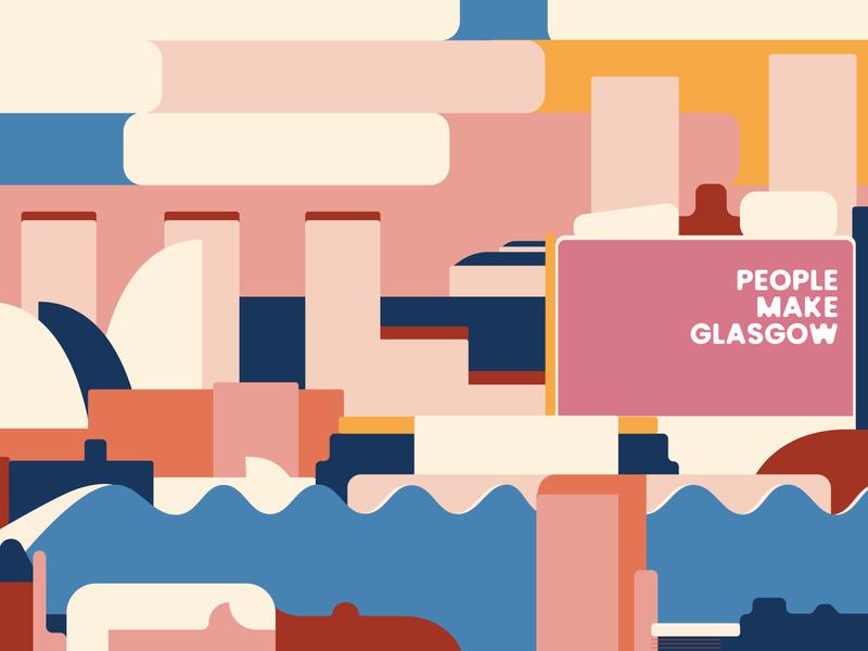 My Glasgow Skyline 2 abstract sunset scotland make people colorful minimal simple digitalart design art glasgow city skyline color vector art design flat