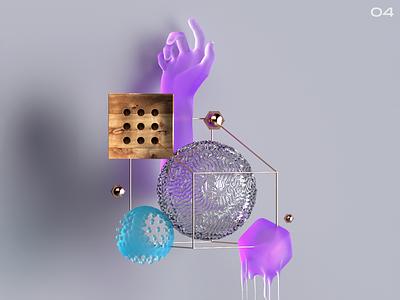 Sticky glass brain purple light jelly subsurface cinema4d octane sticky
