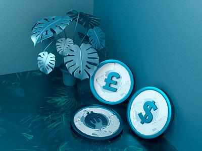 Jewel 3D blie tropical plant technology crypto coins c4d octane