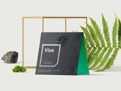 Vios skincare packaging skincareherbal leaves grass cube fern cream brand packaging skin cosmetics japanese stemcells skincare vios
