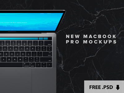 "New Macbook Pro 15"" Touchbar Free .PSD Mockups"