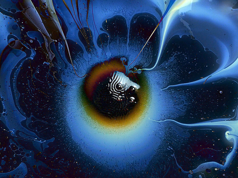 Heart of Dark alien dark light ferrofluid psychedelic trippy magnet paint