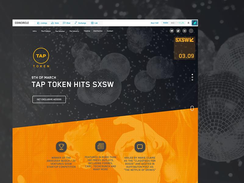 Tap Token SXSW Promo Site orange sxsw ui drink alcohol blockchain ico token tap