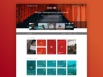 HSBC People Management Curriculum fintech bank portal training e-learning learning ux web app cms