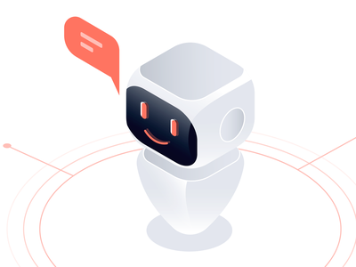 Artificial Intelligence Illustration illustratior learning diagram radial tech bot chatbot grey red vector digital happy isometric robot illustration