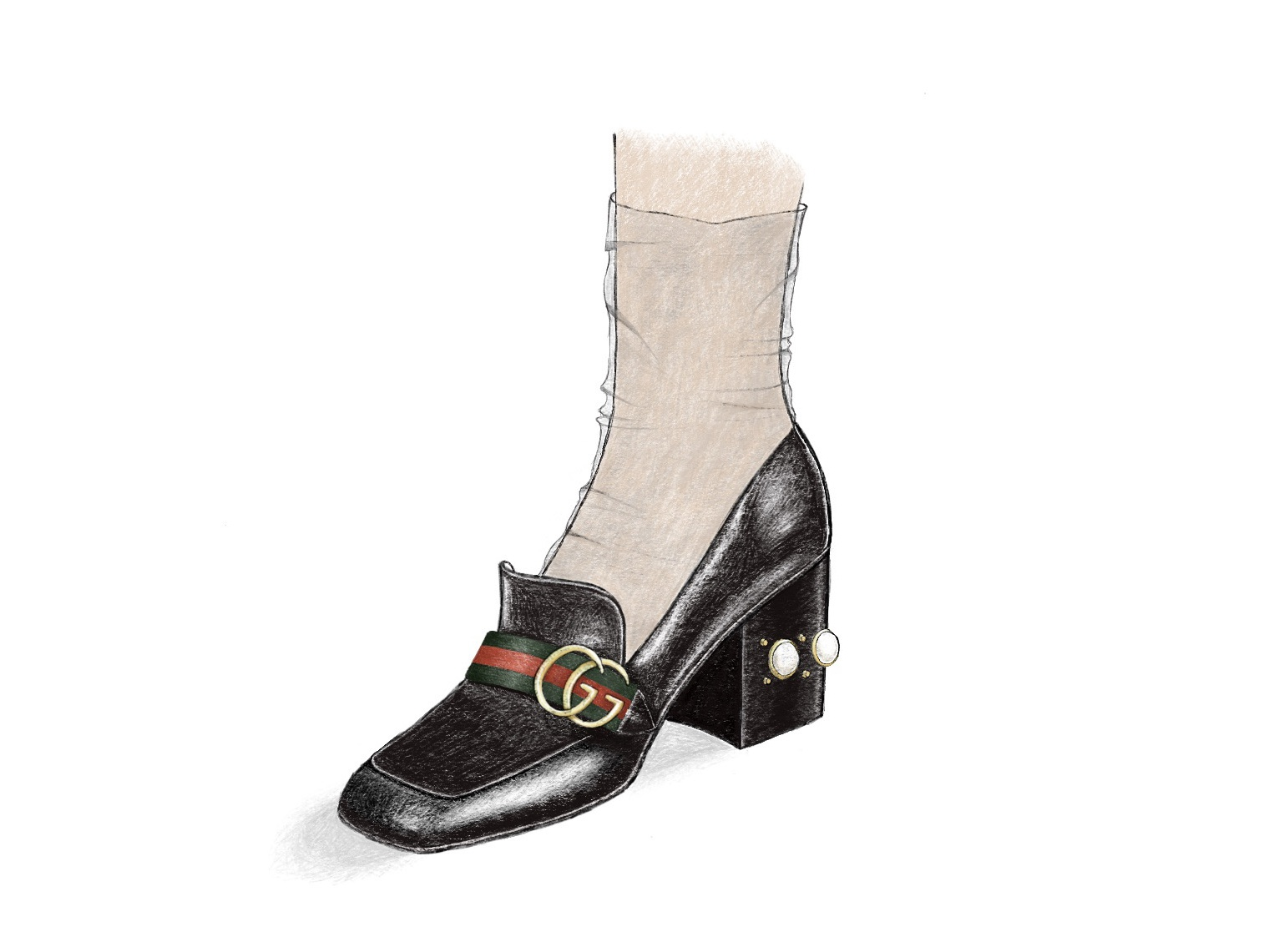 Zapato Gucci pencil drawing ilustración moda fashion illustration shoe design zapatos design pencil gucci shoe procreate pastel soft drawing ilustracion illustration