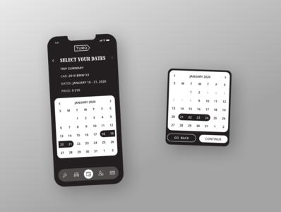 Turo Calendar Date Picker Mockup