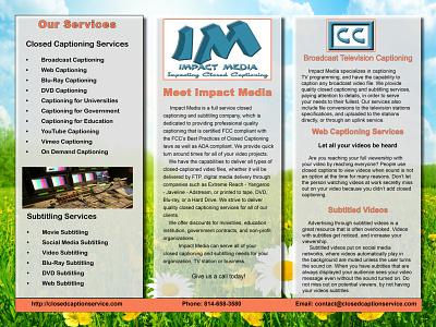 Impact Media Closed Captioning Brochure branding design