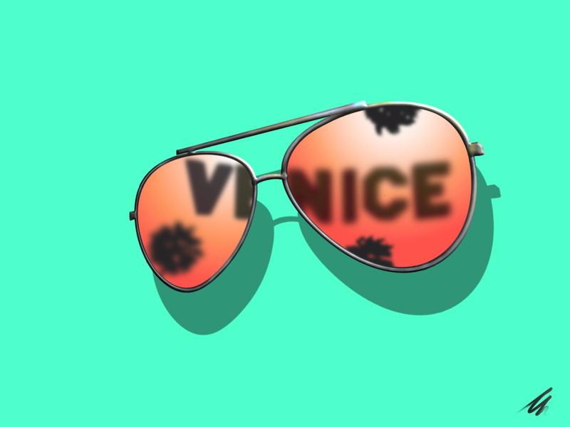Venice Views illustration vector california venice aviators sunglasses