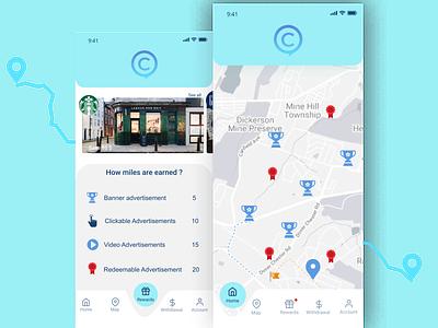 Comp-Application color palette illustrations graphics designer design ui  ux ui iphonex walk money earn application advertisement awards iles app design app