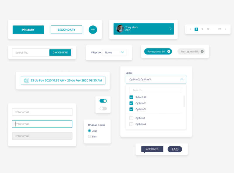 Design System Components toggle switch toggle toggles multiselect page counter chips upload file date picker inputs radio button tooltips tag components filters ui design system