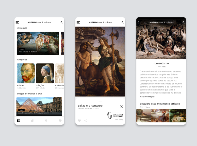 MUSEUM arts & culture museum of art arts museum ux cards app ui