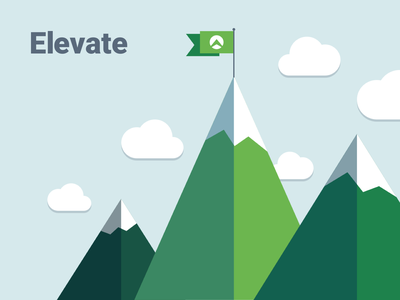 Elevate clouds flag illustration mountains
