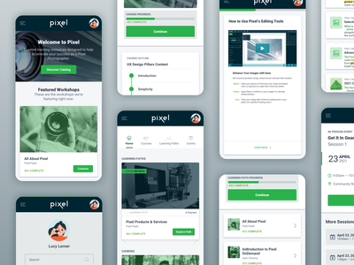 Pixel Learning Experience ui collage mobile app