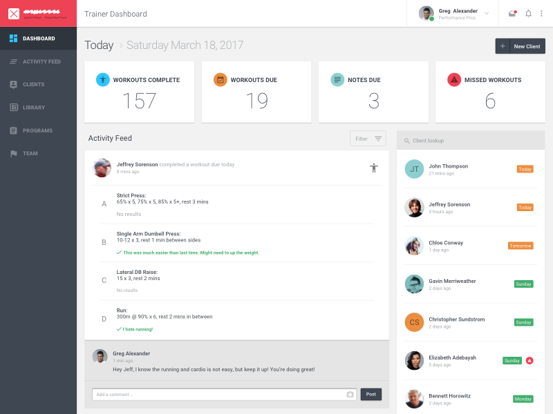 Trainer dashboard