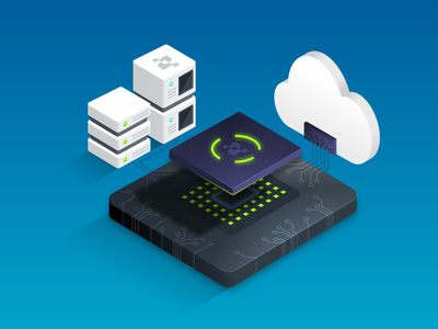Processor Chip isometric processor server cloud illustration