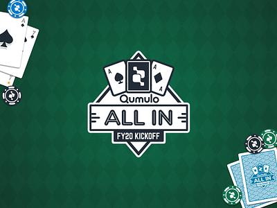 All In harlequin spade event poker cards logo
