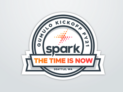 Spark Badge sticker text on path crest badge logo badge