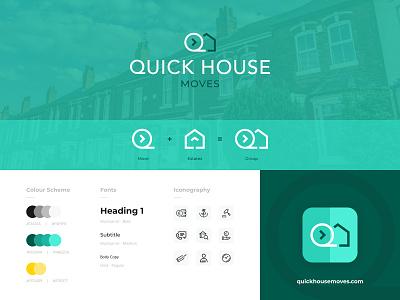 Quick House Moves - Branding development website favicon icon font moves house quick graphic design flat logo agency digital activate colour web illustrator design brand identity branding