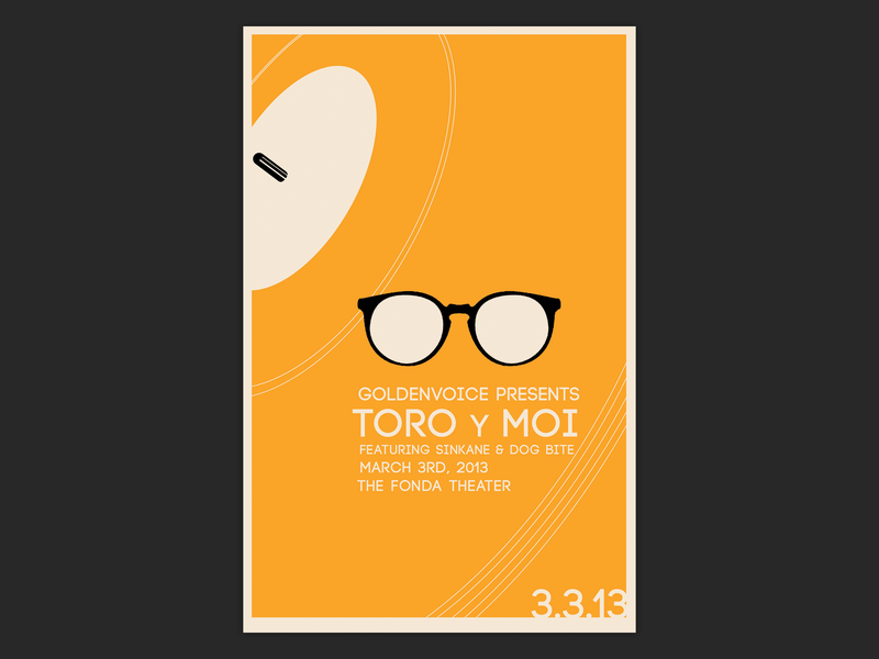 Toro Y Moi Concert Poster concert poster toro y moi minimalism minimal design typography illustration silkscreen print silkscreen gig poster poster design poster