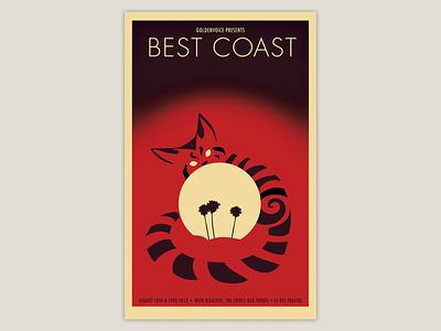 Best Coast Concert Poster color typography gig poster silkscreen print poster art concerts concert best coast cat illustration design poster concert poster gig posters posters poster design