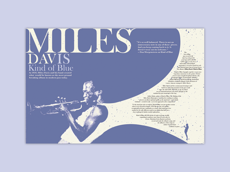 Miles Davis Spread print design monotone color kind of blue typography blue miles davis print spread magazine design design