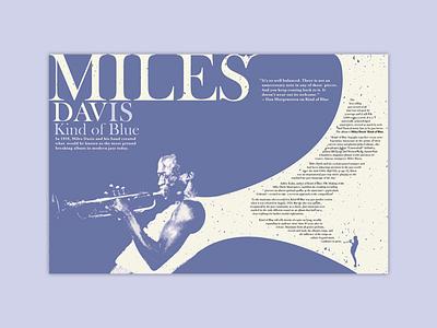 Miles Davis Spread print design monotone color kind of blue typography blue miles davis print spread magazine design design