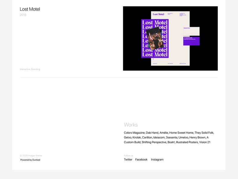 Dunked theme figmadesign figma service portfolio minimal simple templatedesign themes whitespace minimalist webdesign template theme dunked grafician