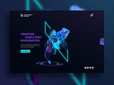 Imaginary X Studio Homepage website concept concept creation ix imagination fish neon ui  ux design ux  ui homepage design website webdesign web  design