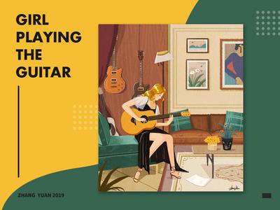 Girl playing the guitar 插图