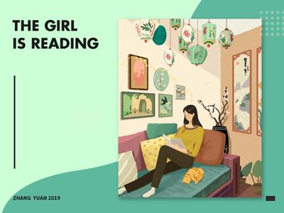 读书的女孩 插图