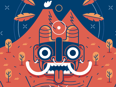Volcano mexican God vector illustration poster character mexico mexican god
