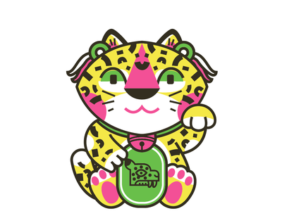 Neko jaguar design illustration mexican jaguar color neko catch maneki neko manekineko