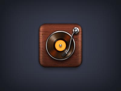 Turntable iOS Icon ios icon iphone ipad turntable record player wood retina